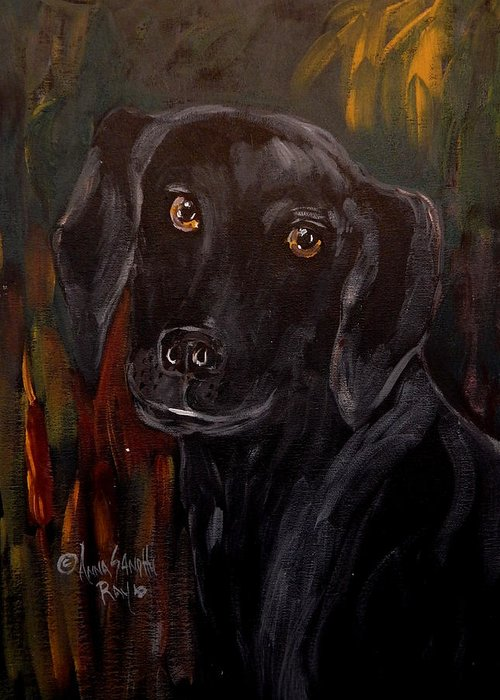 Black Lab Greeting Card featuring the painting Black Lab by Anna Sandhu Ray