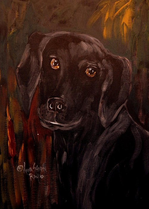Black Lab Greeting Card featuring the painting Black Lab II by Anna Sandhu Ray
