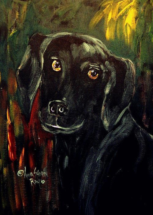 Black Lab Greeting Card featuring the painting Black Lab IIi by Anna Sandhu Ray