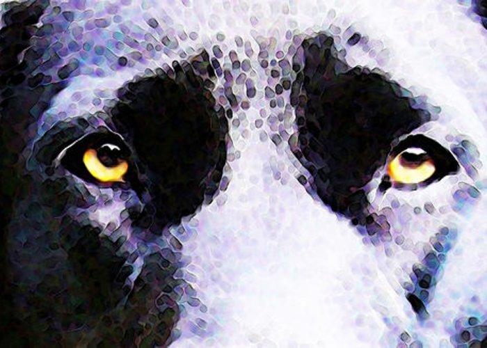 Labrador Retriever Greeting Card featuring the painting Black Labrador Retriever Dog Art - Lab Eyes by Sharon Cummings