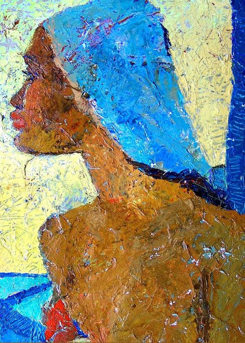 Black Lady Greeting Card featuring the mixed media Black Lady With Blue Head-dress by Janet Ashworth