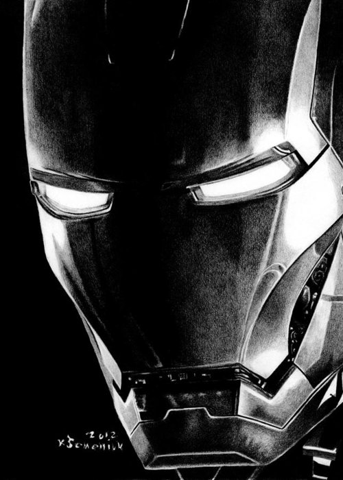 Iron Greeting Card featuring the drawing Black Led Avenger by Kayleigh Semeniuk