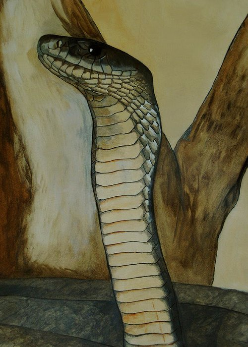 Reptiles Greeting Card featuring the painting Black Mamba by Tracey Beer