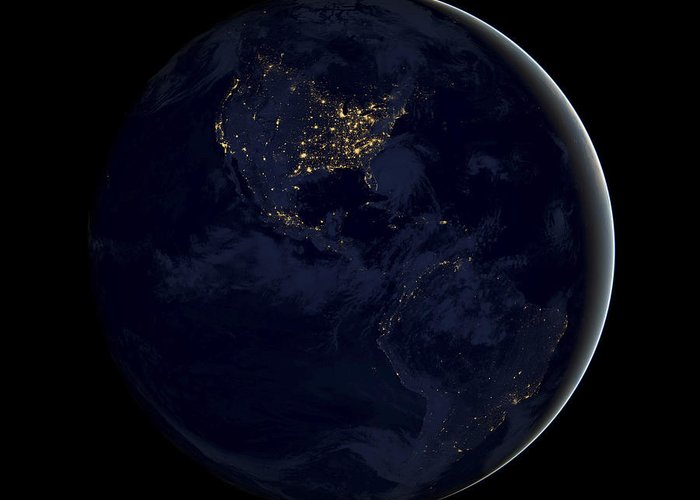 Planet Earth Greeting Card featuring the photograph Black Marble by Adam Romanowicz