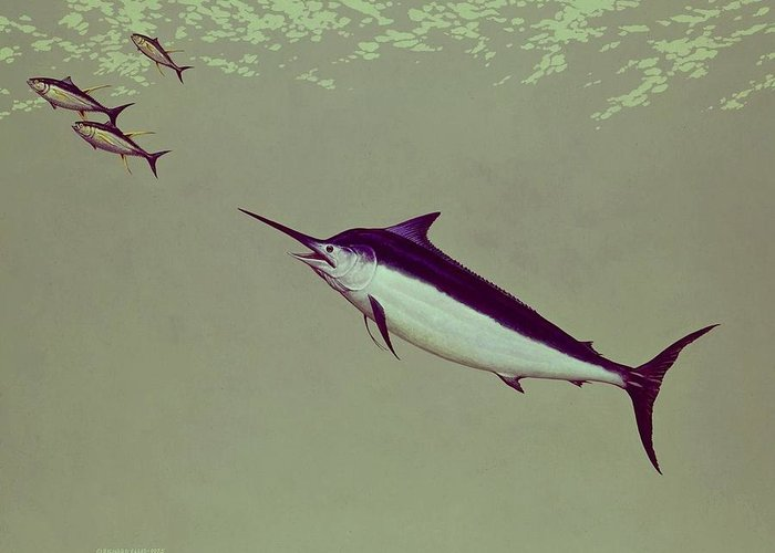 Game Fish Greeting Card featuring the painting Black Marlin by Richard Ellis
