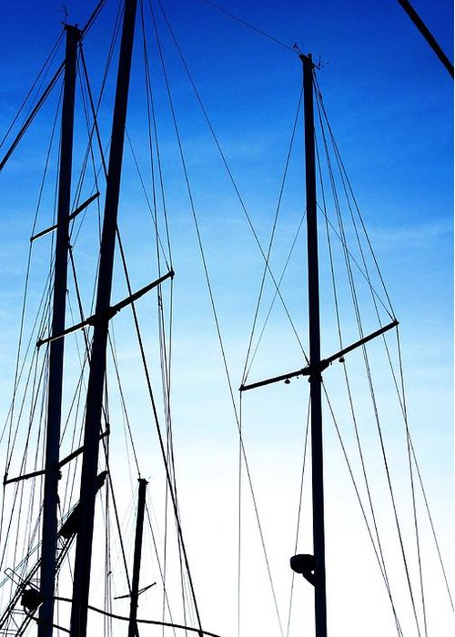 Black N Blue Hour Of Sailing Ships Waterscape Black N Blue Sailboats In The Blue Hour Shoreline Waterscapes Sailboats At Rest Shoreline Land And Seascapes Sailboat Riggings In Blue And White Twilight Seascape Waterscape Michigan Sailing Waterscapes Michigan Sailboats Fresh Water Scapes Sail Boat Masts And Lines Silhouettes Black And Blue Sailboat Silhouettes Waterscape Black And Blue Sailboat Rigging Silhouettes Shoreline Views Black And Blue Skyscape Black And Blue Sunset Black Blue And White Twilight Sailboat Water Scape Highlighted Silhouette In Black And Blue Sailboat Riggings Water Scape Rosemarie E Seppala Muskegon Lake Twilight Sailboat Water Scape Greeting Card featuring the photograph Black N Blue Hour Of Sailing Ships by Rosemarie E Seppala