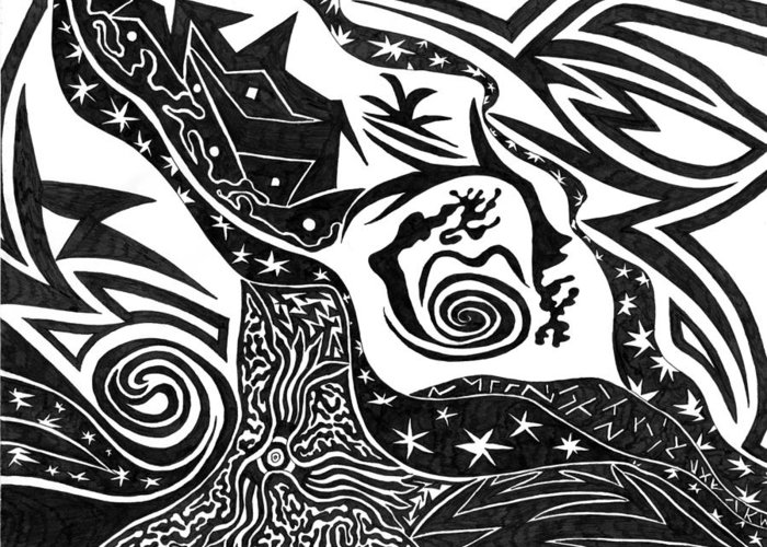 Lost In The Inkwell Greeting Card featuring the drawing Black Night by Kerri White