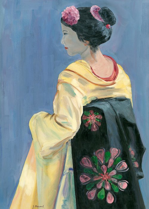 Geisha Greeting Card featuring the painting Black Obi by Joe Chicurel