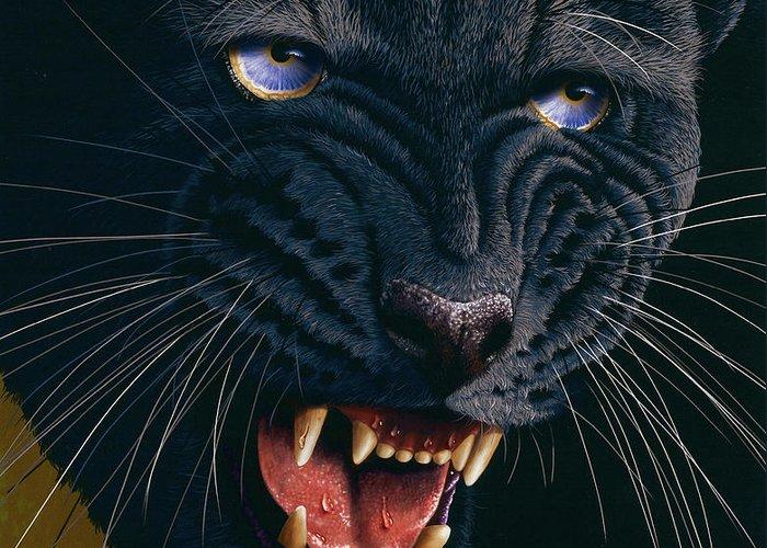 Black Panther Greeting Card featuring the painting Black Panther 2 by Jurek Zamoyski