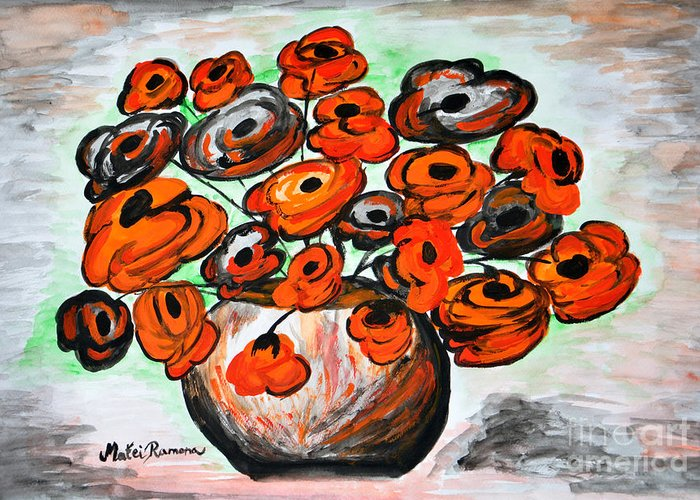 Poppies Greeting Card featuring the painting Black Poppies by Ramona Matei