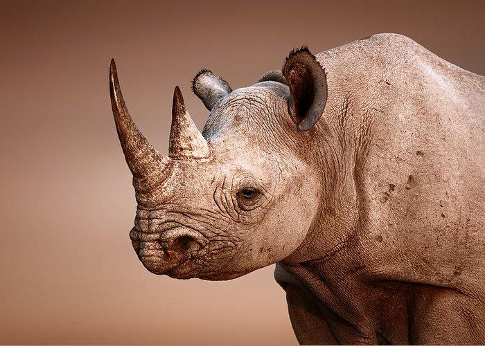 Rhinoceros Greeting Card featuring the photograph Black Rhinoceros Portrait by Johan Swanepoel