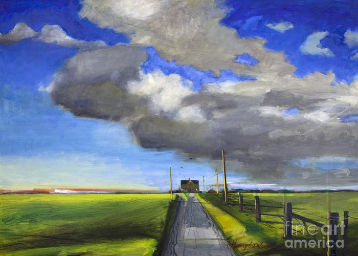 Landscape Greeting Card featuring the painting Black Road by Chuck Hayden