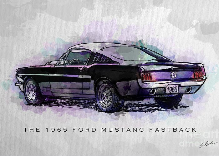 Ford Mustang Drawings Greeting Cards