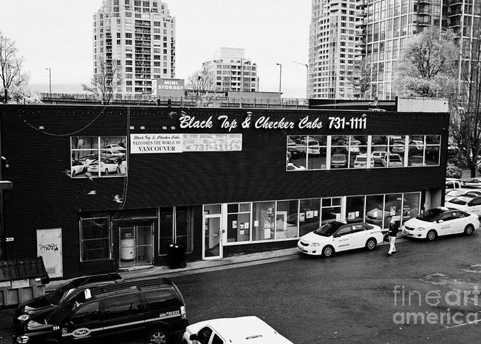Black Greeting Card featuring the photograph black top and checker cabs office Vancouver BC Canada by Joe Fox