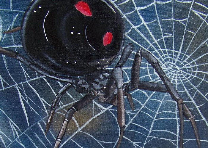 Spider Greeting Card featuring the painting Black Widow by Debbie LaFrance