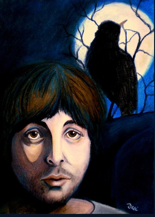 Paul Mccartney Greeting Card featuring the painting Blackbird by Debi Starr