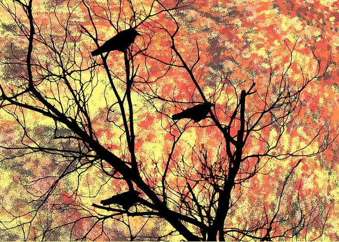 Blackbirds In A Tree Greeting Card featuring the photograph Blackbirds In A Tree by Bill Cannon