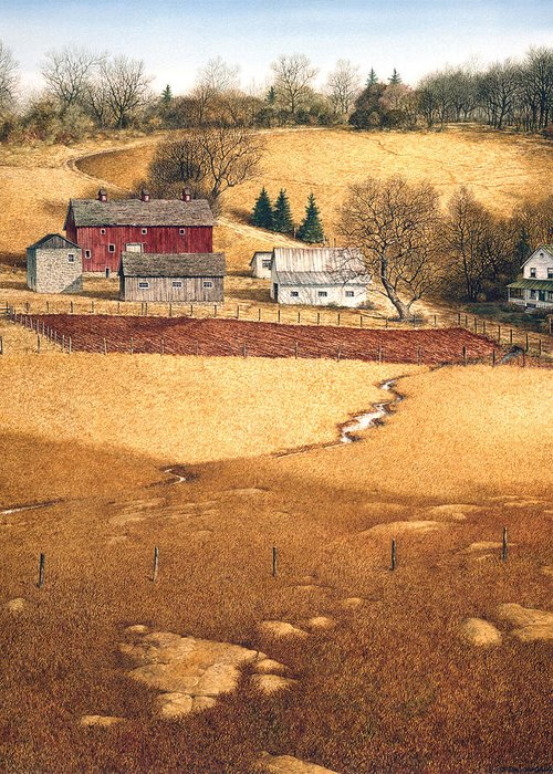Landscape Greeting Card featuring the painting Blackshear Hollow by Tom Wooldridge