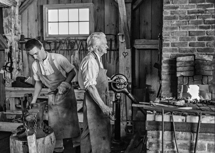 Blacksmith Greeting Card featuring the photograph Blacksmith And Apprentice 2 Bw by Steve Harrington