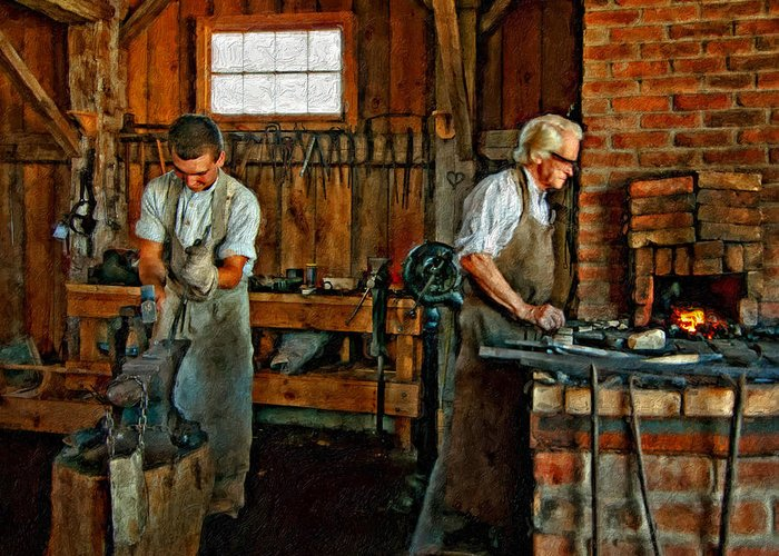 Blacksmith Greeting Card featuring the photograph Blacksmith And Apprentice Impasto by Steve Harrington