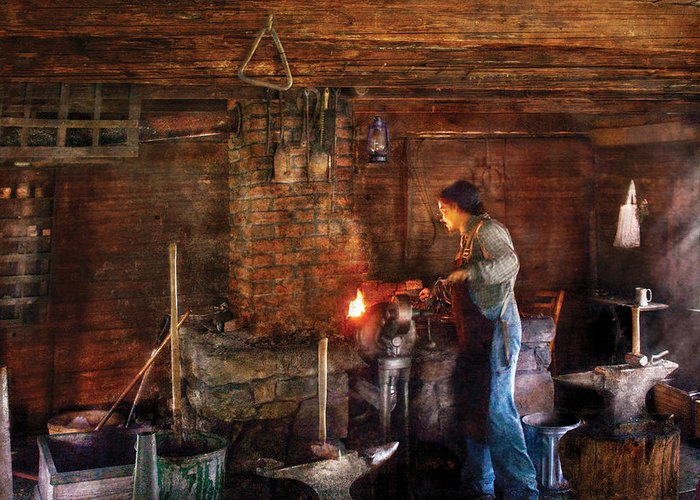 Savad Greeting Card featuring the photograph Blacksmith - Cooking With The Smith's by Mike Savad