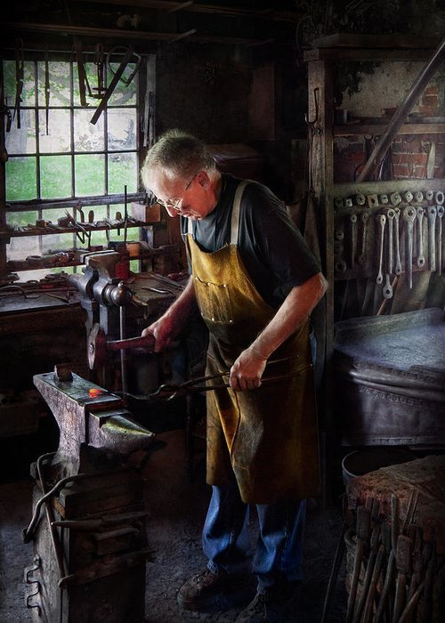 Blacksmith Greeting Card featuring the photograph Blacksmith - Starting With A Bang by Mike Savad