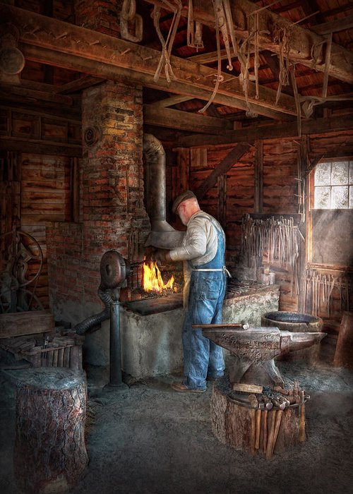 Blacksmith Greeting Card featuring the photograph Blacksmith - The Importance Of The Blacksmith by Mike Savad
