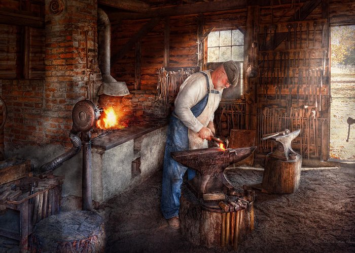 Blacksmith Greeting Card featuring the photograph Blacksmith - The Smith by Mike Savad