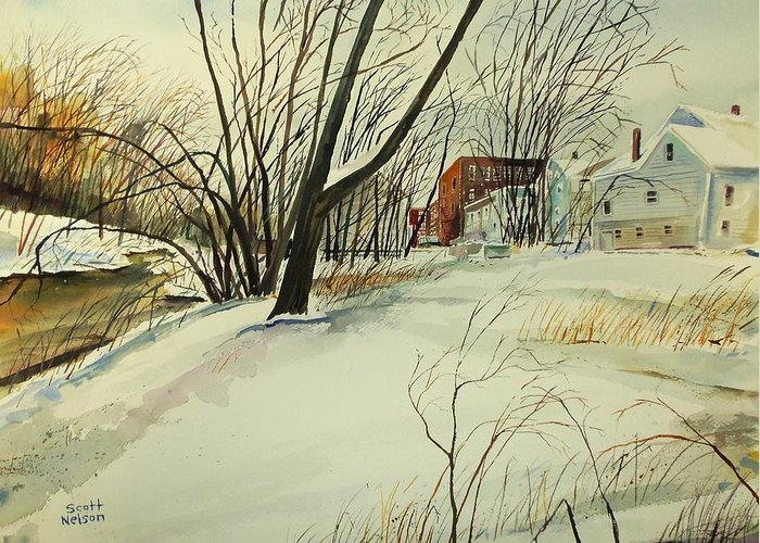 Watercolor Greeting Card featuring the painting Blackstone River Snow by Scott Nelson