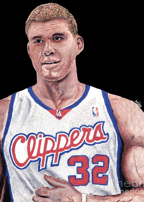 Blake Griffin Greeting Card featuring the painting Blake Griffin by Israel Torres