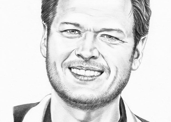 Pencil Greeting Card featuring the drawing Blake Shelton by Murphy Elliott