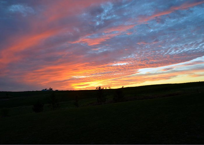 Sunset; Bright Orange Horizon; Landscape; Rural Area. Greeting Card featuring the photograph Blazing Horizon by Larry Jones
