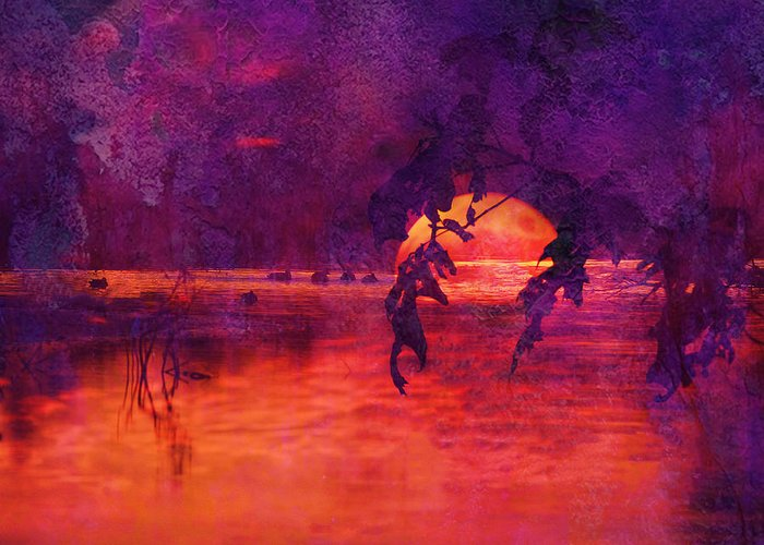 J Larry Walker Greeting Card featuring the digital art Bleeding Sunrise Abstract by J Larry Walker
