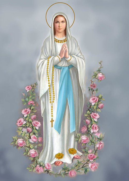 Blessed Virgin Greeting Card featuring the painting Blessed Virgin by Valer Ian