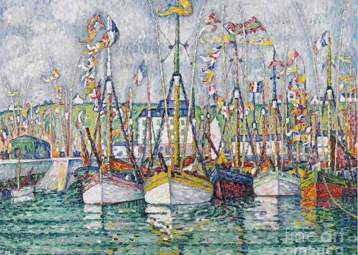 Signac Greeting Card featuring the painting Blessing Of The Tuna Fleet At Groix by Paul Signac