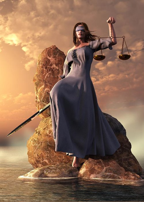 Justice Greeting Card featuring the digital art Blind Justice With Scales And Sword by Daniel Eskridge