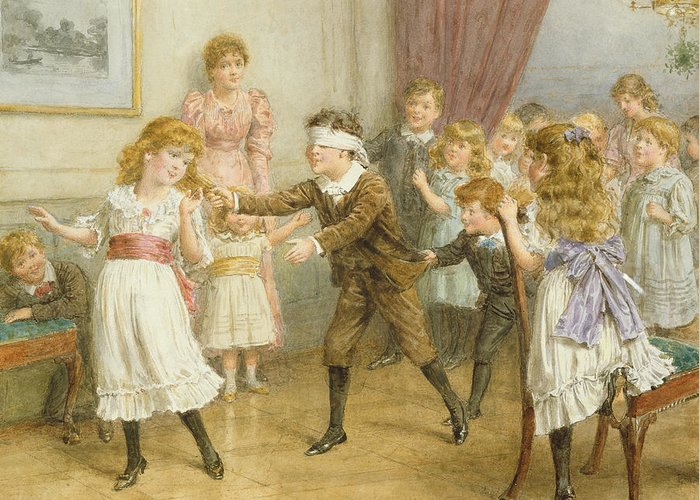 19th; 20th; Edwardian; Children; Playing; Game; Party; Governess; Nanny; Male; Female; Young Boy; Young Girl; Catching; Chasing; Pulling Hair; Excited; Fun; Blindfold; Blindfolded Greeting Card featuring the painting Blind Mans Buff by George Goodwin Kilburne