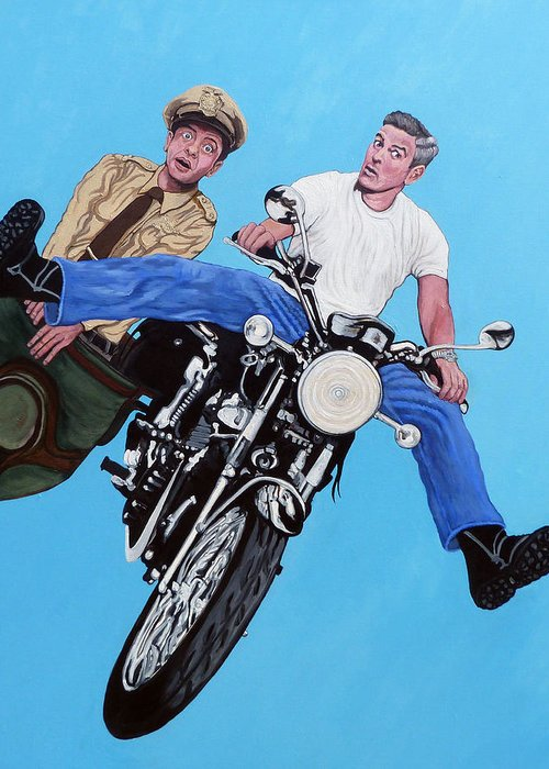 George Clooney Greeting Card featuring the painting Blink by Tom Roderick