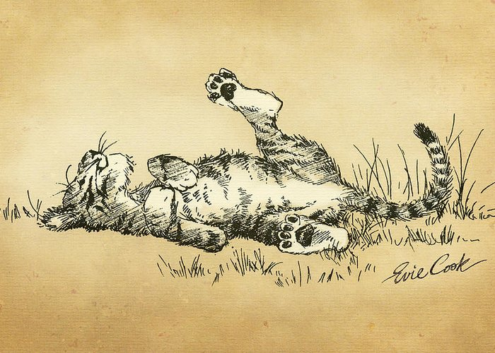 Tiger Greeting Card featuring the digital art Bliss In The Grass by Evie Cook