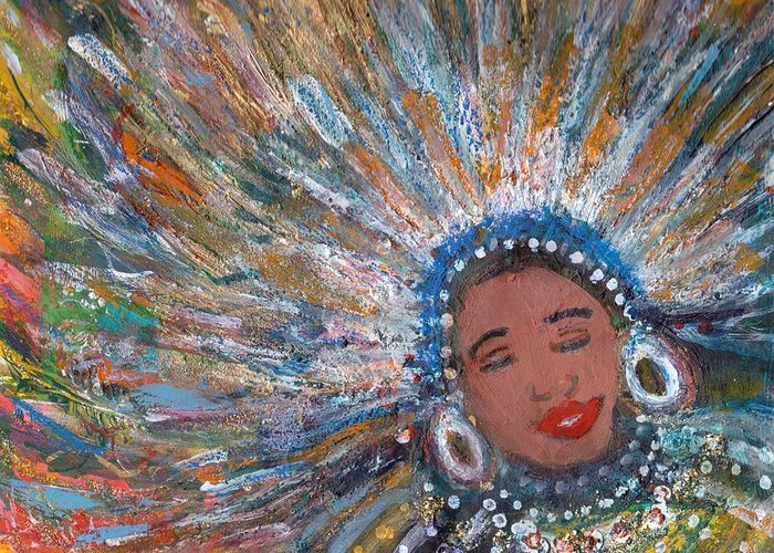 Mardi Gras Greeting Card featuring the painting Blissful Babe With Feathers by Anne-Elizabeth Whiteway