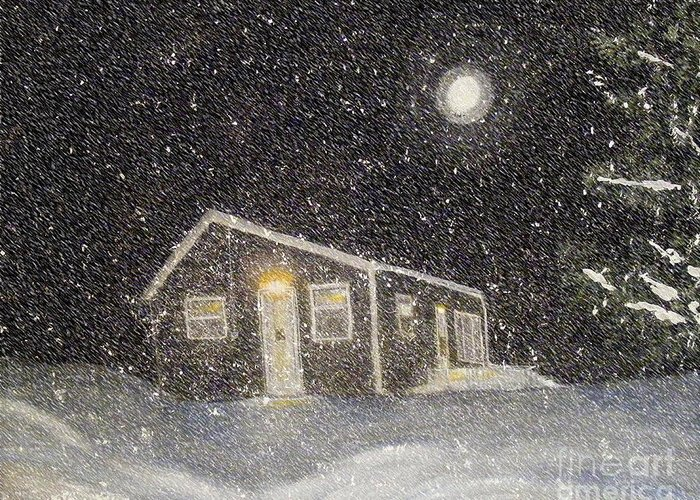 Barbara Griffin Greeting Card featuring the painting Blizzard At The Cabin by Barbara Griffin