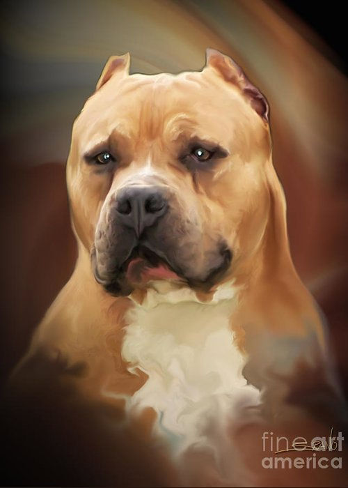 Spano Greeting Card featuring the painting Blond Pit Bull By Spano by Michael Spano
