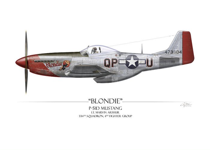 Aviation Greeting Card featuring the painting Blondie P-51d Mustang - White Background by Craig Tinder