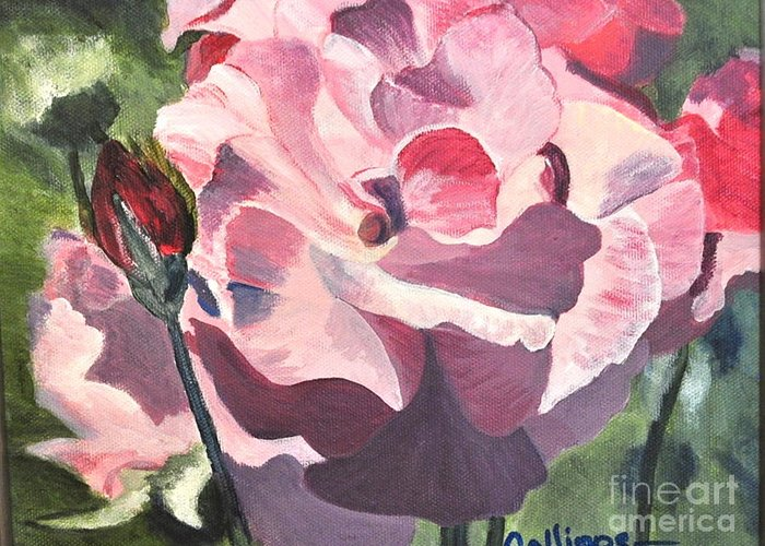 Floral Greeting Card featuring the painting Bloomed Rose by Calliope Thomas