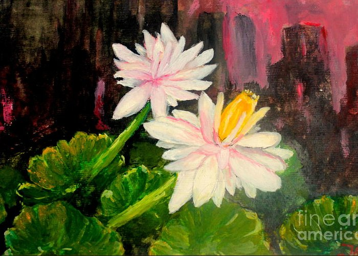 Home Yard Greeting Card featuring the painting Blooming At Night by Jason Sentuf