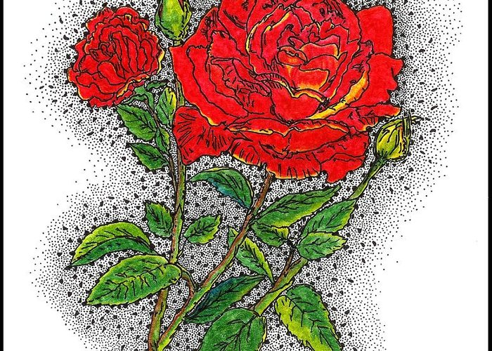 drawn Roses Greeting Card featuring the drawing Blooming Too by Glenn McCarthy Art and Photography