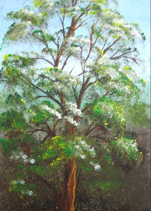 Tree Greeting Card featuring the painting Blooming Tree by Roni Ruth Palmer