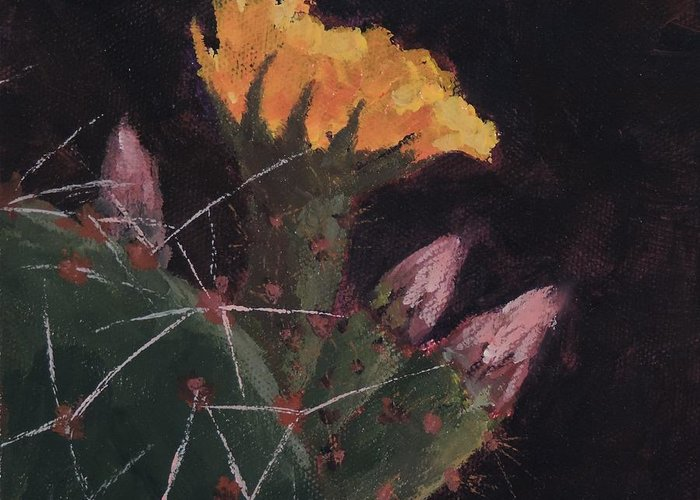 Art Greeting Card featuring the painting Blossom And Needles - Art By Bill Tomsa by Bill Tomsa