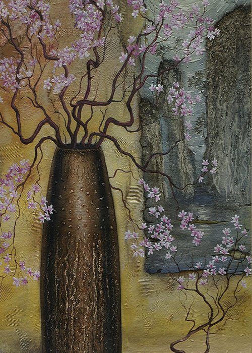 Still Life Greeting Card featuring the painting Blossom by Vrindavan Das