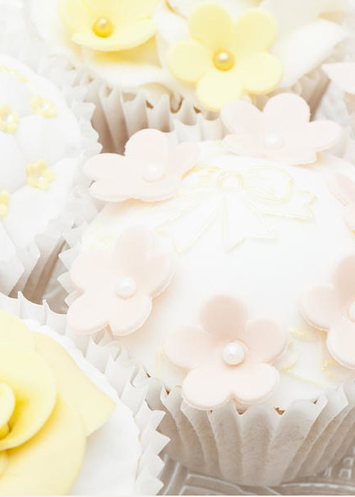 Cupcake Greeting Card featuring the photograph Blossoms And Bows Cupcake by Anne Gilbert